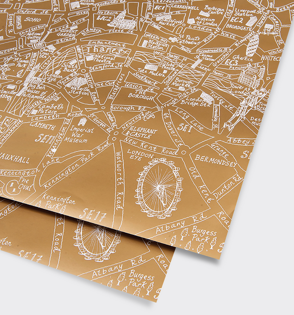 London Gold Metallic Map Gift Wrap