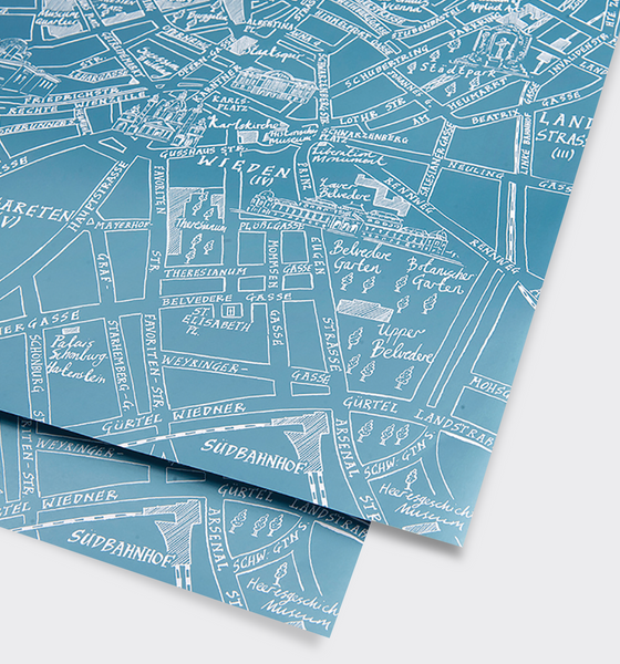 Vienna Metallic Teal Map Gift Wrap