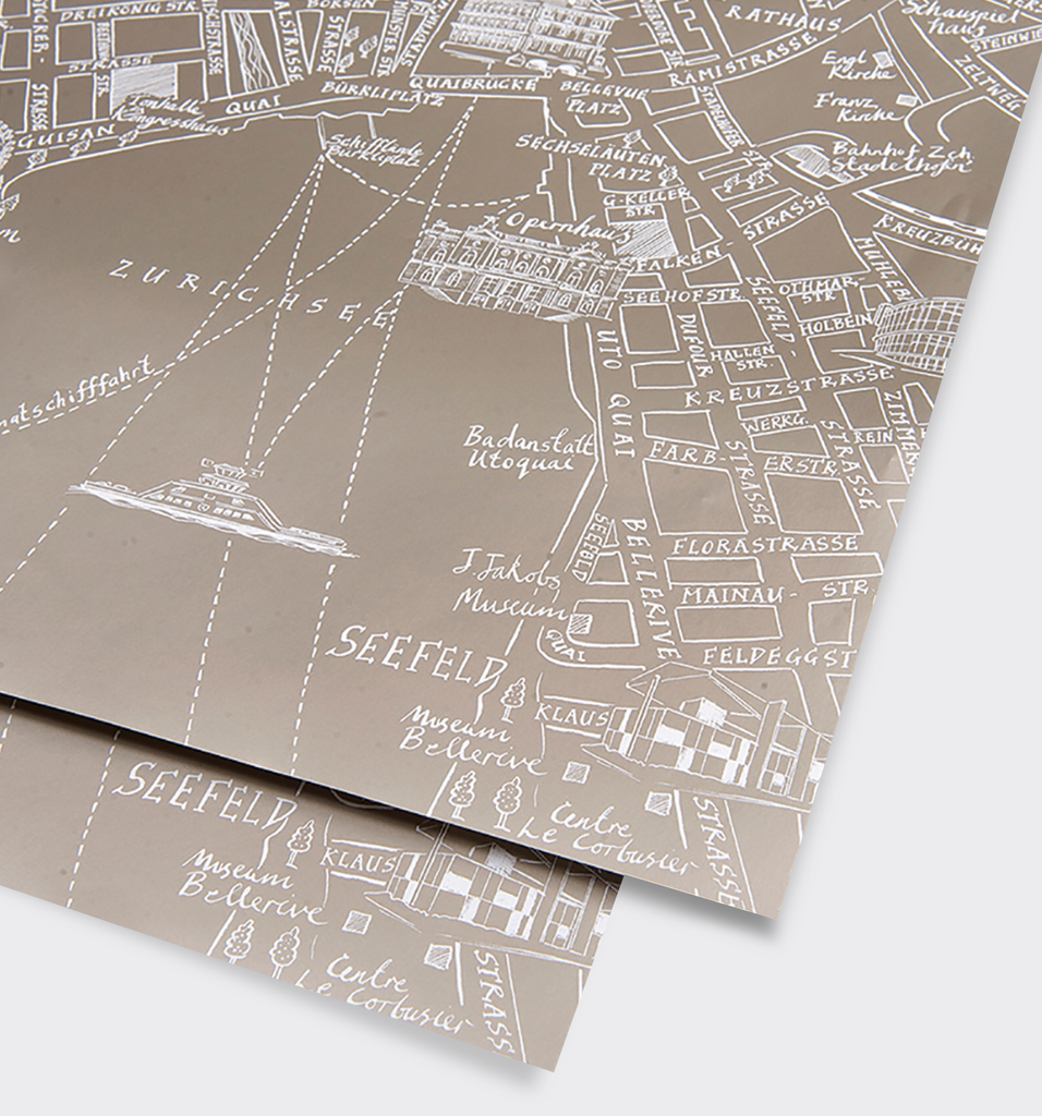 Zurich Metallic Silver Map Gift Wrap