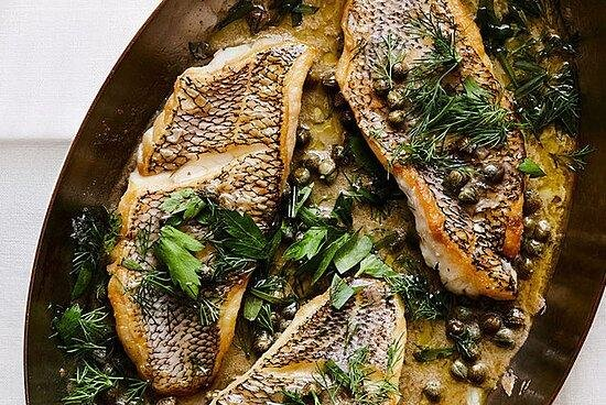 Sauteed Black Sea Bass with Capers and Herb-Butter Sauce | Grocer Collective