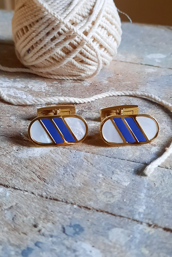 Lapis Lasuli & Mother Of Pearl Inlay Cufflink Set