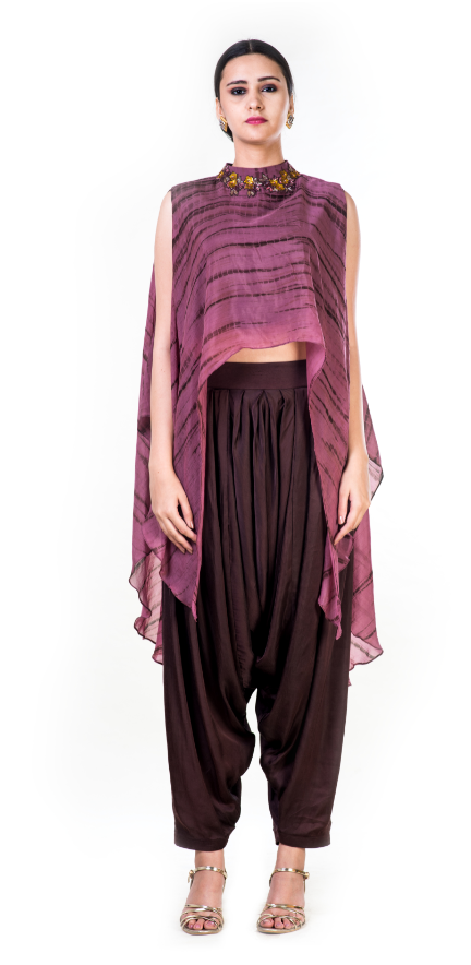 Marble Dyed High Low Cape Crop Top with Brown Harrem Pant
