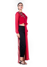 Embroidered Red Asymmetrical Long Top with a Straight Fit Pant