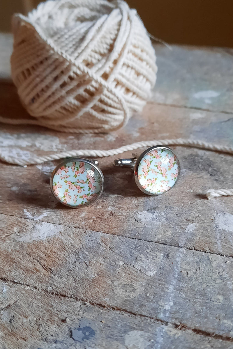 Chintz Print Cufflink Set