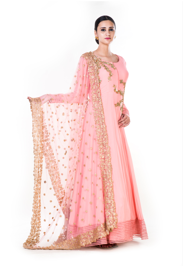 Hand Embroidered  Peach Anarkali with an Embroidered Dupatta