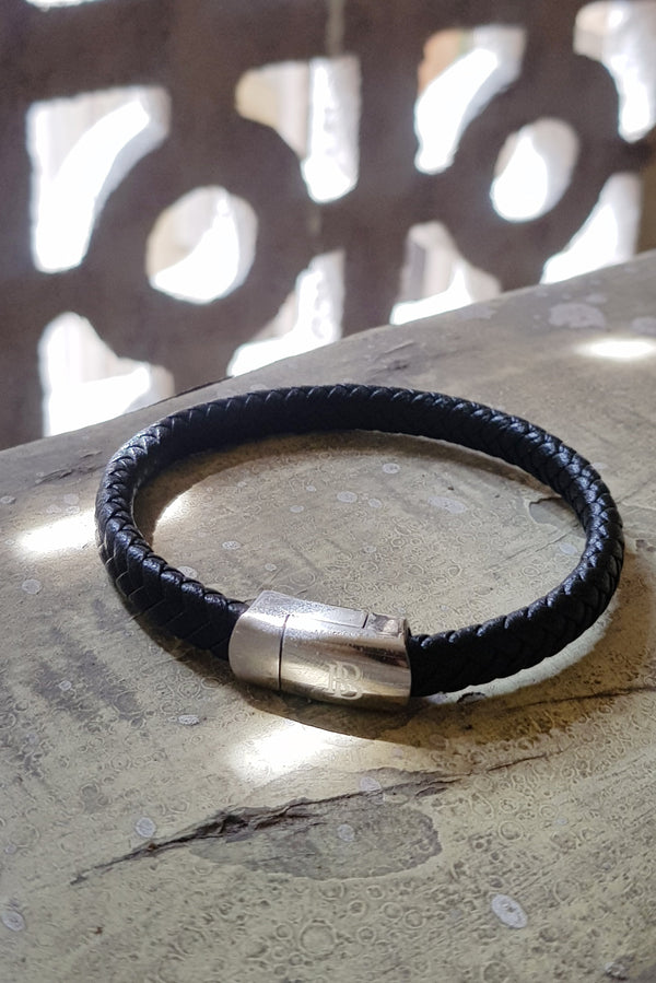 Black Flat Leather Bracelet