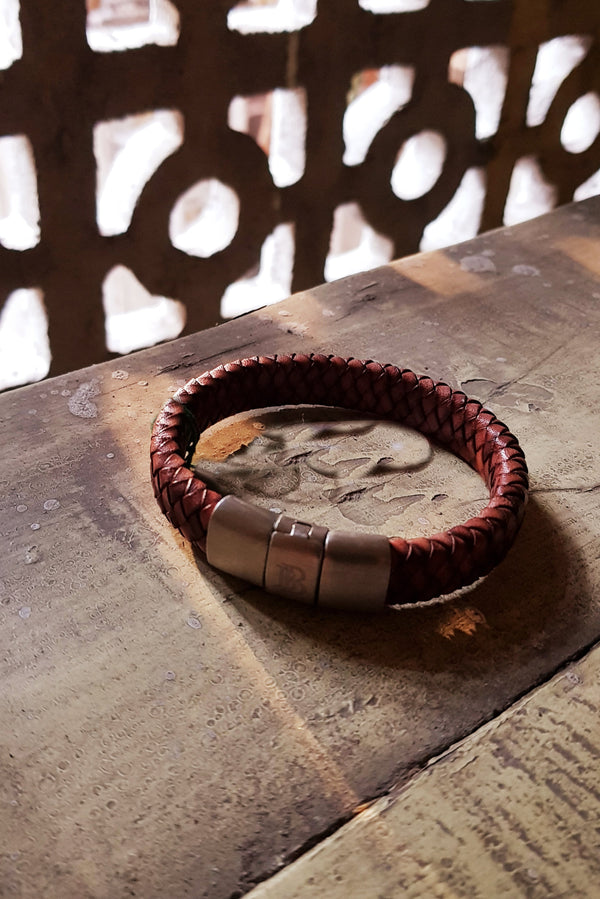 Flat Braided Genuine Leather Bracelet