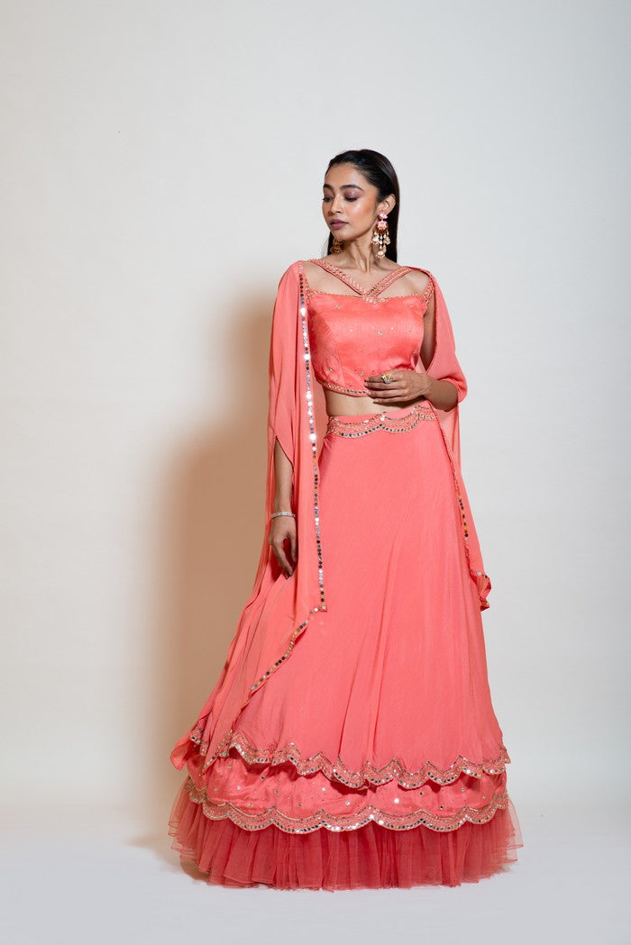 Peach Mirror Lehenga Set