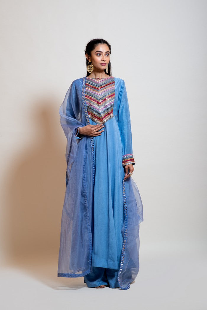 Greyish Blue Mirror Work Anarkali Set.