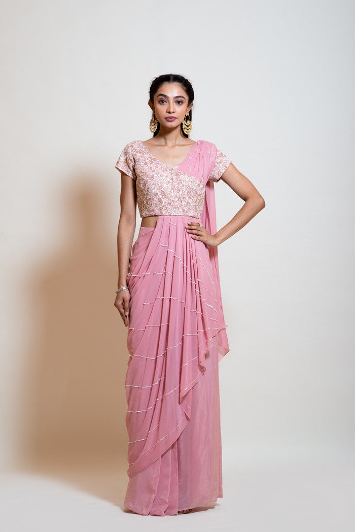 Blush Pink Drape Skirt Set