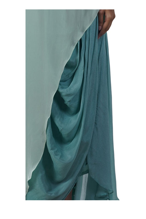 Green Rose Embroidered Asymmetrical Tunic paired with a Draped Skirt
