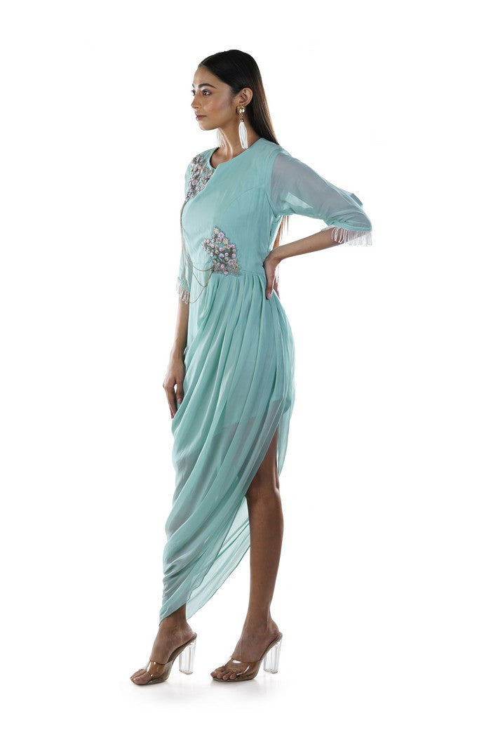 Aqua Green Floral Draped Dress