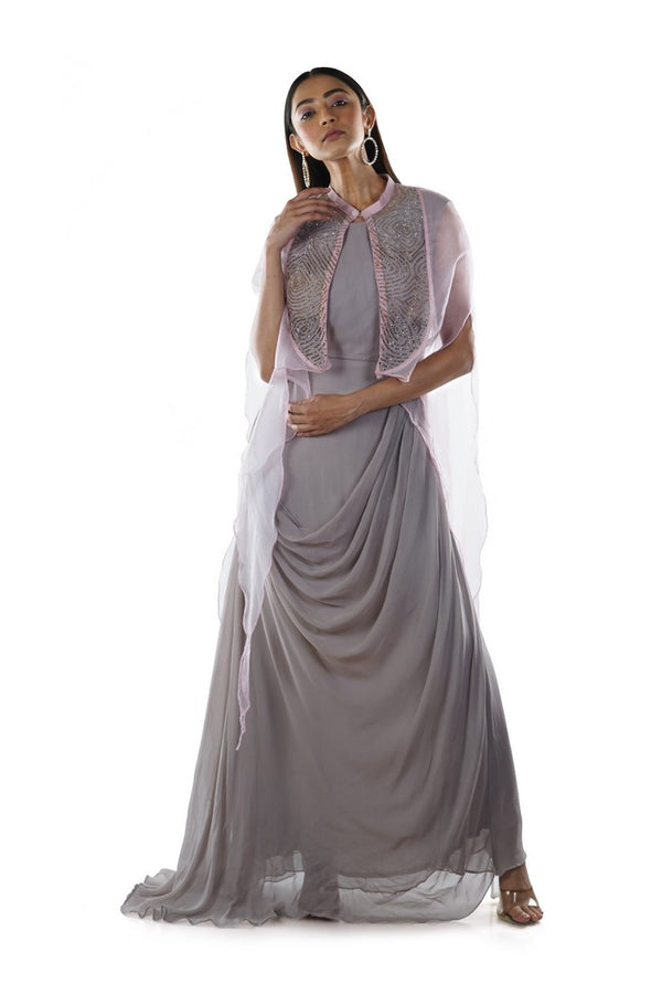Grey Draped Gown with a Pink Pipe Work Embroidered Cape