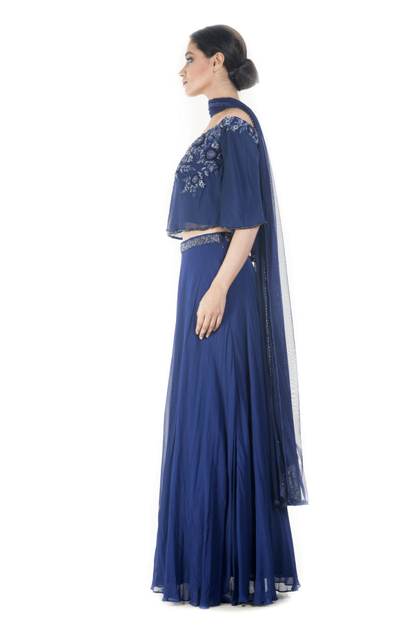 Royal Blue Offshoulder Cape Lehenga Set