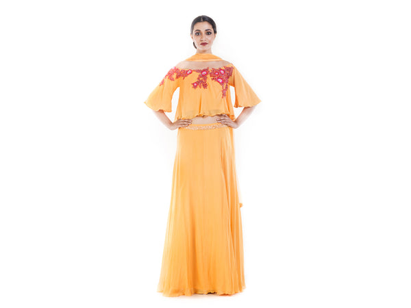 Honey Yellow Offshoulder Cape Lehenga Set