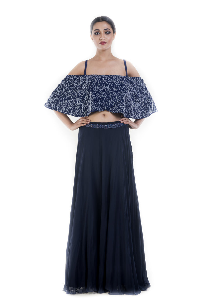 Prussian Blue Off Shouder Cape & Skirt Set