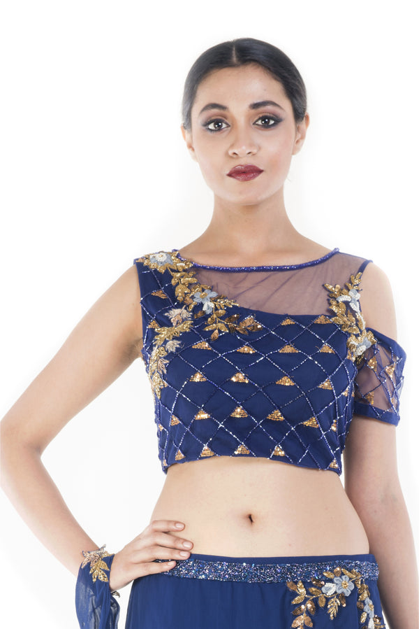 Royal Blue and Gold Embellished Croptop & Skirt Set