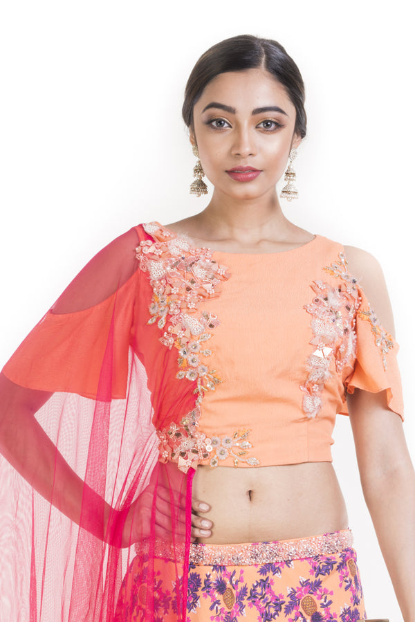 Peach Pineapple Printed Lehenga Set With Attached Dupatta.