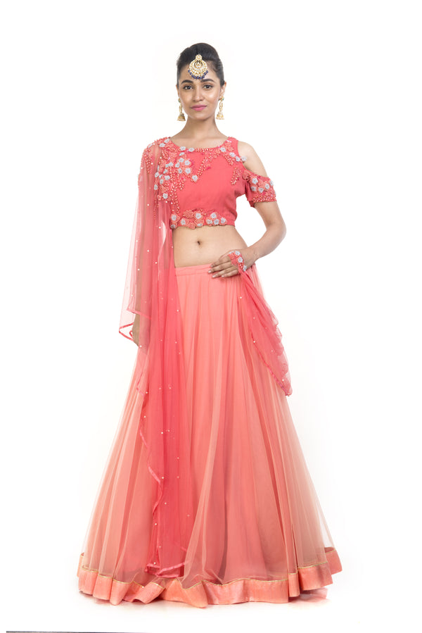 Cold Shoulder Crop Top Lehenga Set