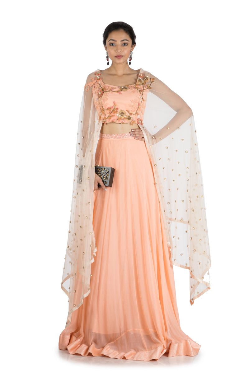 Sweet Peach Lehenga Set with Attached Dupatta