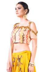 Mustard Yellow Lehenga With An Embroidered Beige Blouse And Shaded Dupatta