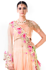 Peach Embroidered Blouse And Lehenga With Thread Work Embroidered Dupatta