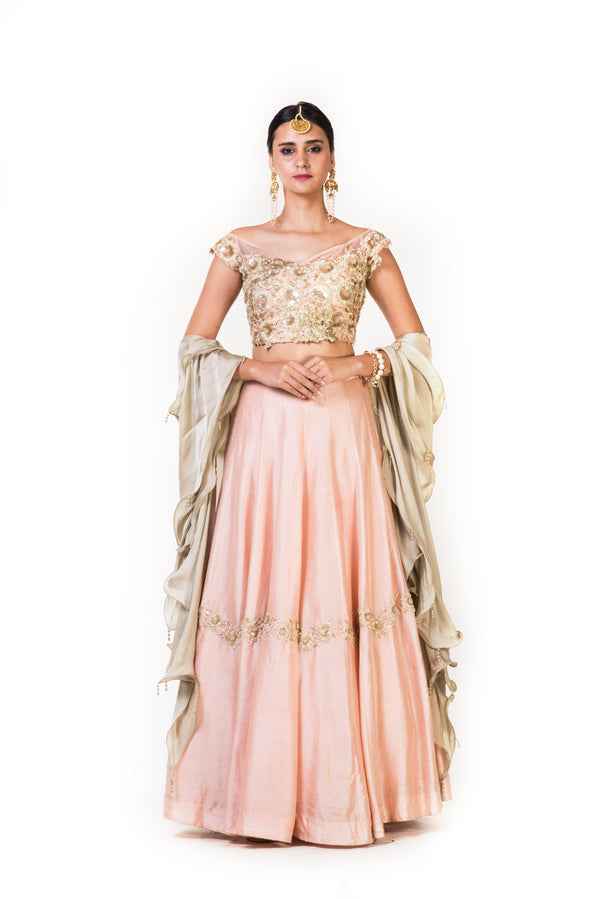Dusty Peach Crop Top Lehenga & Off Shoulder Blouse With a Double Layer Dupatta