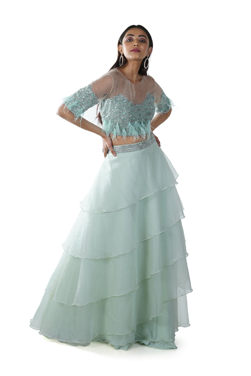 Sea Green Feather & Pearls Hand Embroidered Blouse with a 5 Layer Lehenga