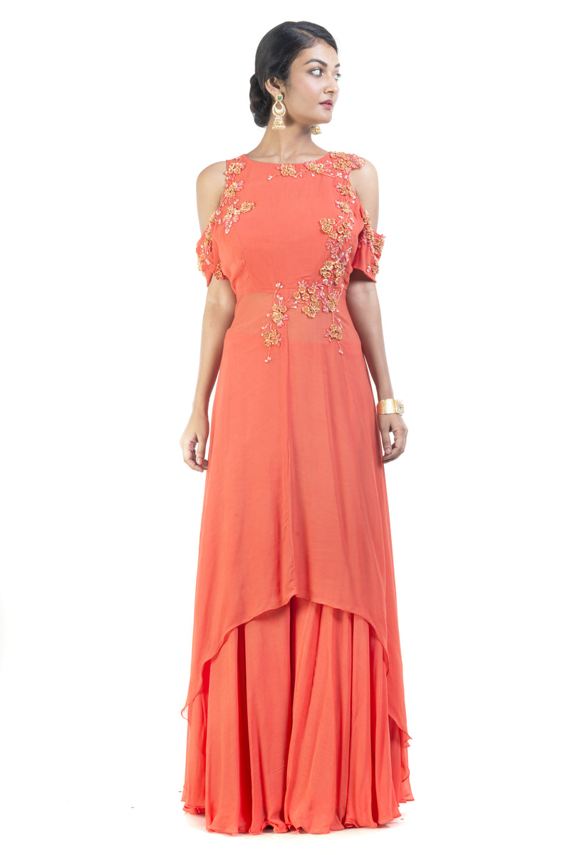 Cold Shoulder Bright Orange Palazzo Sahara Set