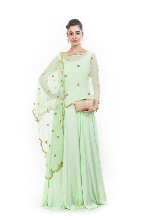Lime Green Cape Dupatta Suit