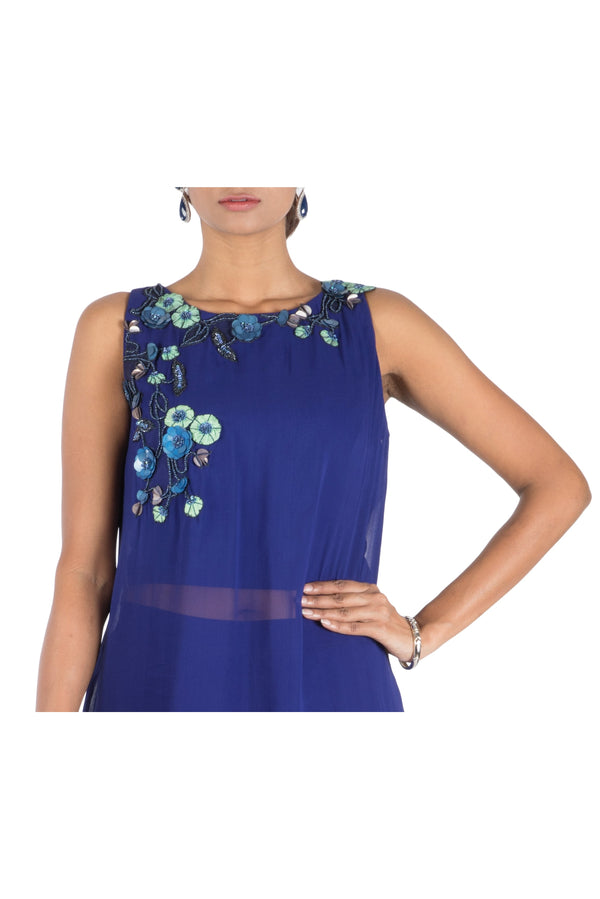 Indigo Blue Layer Crop Top With Pallazo