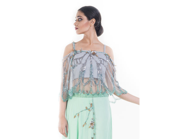 Turquoise Green Embellished Croptop & Layered Pallazo Set