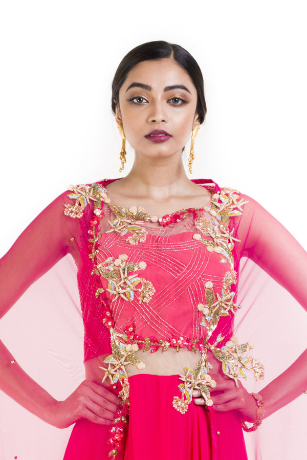 Bright Pink Suit Set With Attached Dupatta