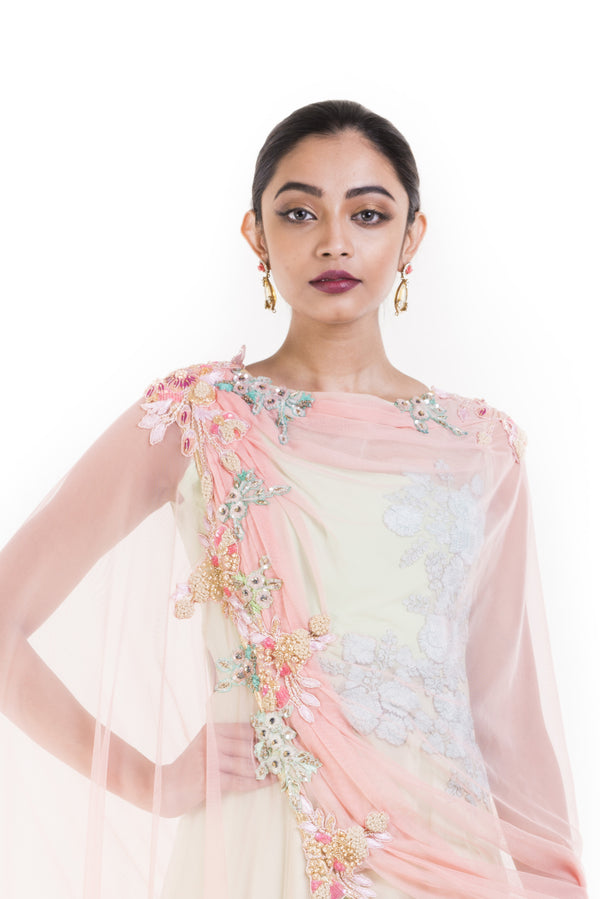 Mint Green One Shoulder Suit With Pale Peach Attached Dupatta.