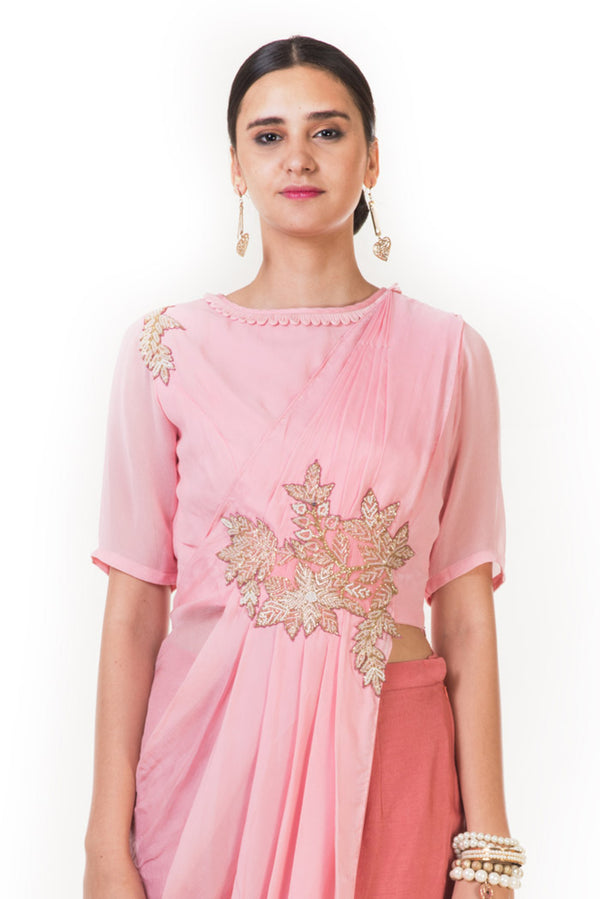 Pink Cord Embroidered Indowestern Draped Top with Palazzo Pants