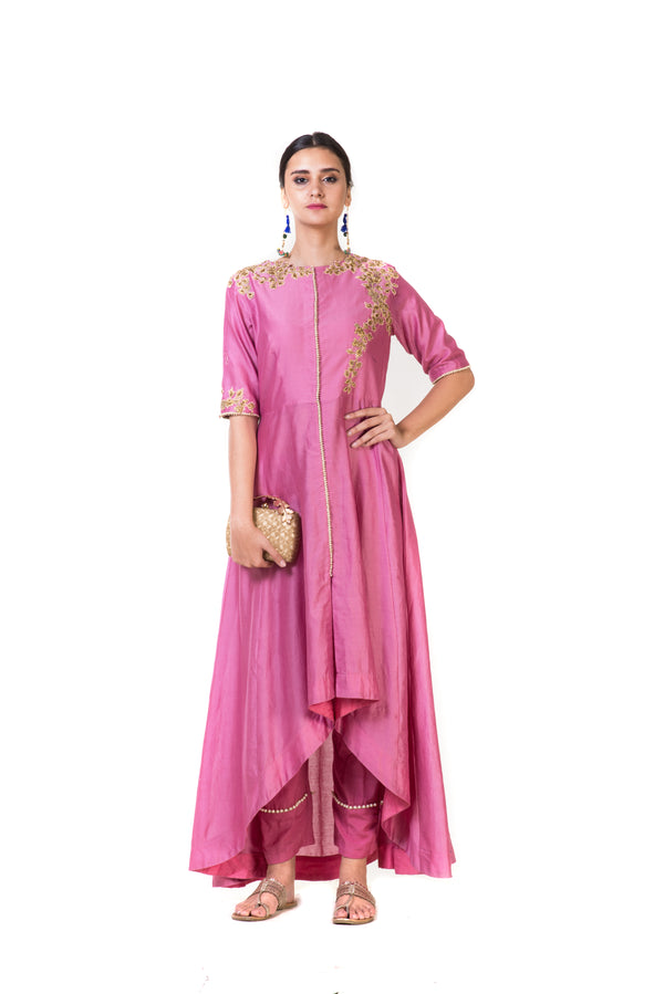 Pink High Low Embroidered Salwar Suit Set & Straight Pants