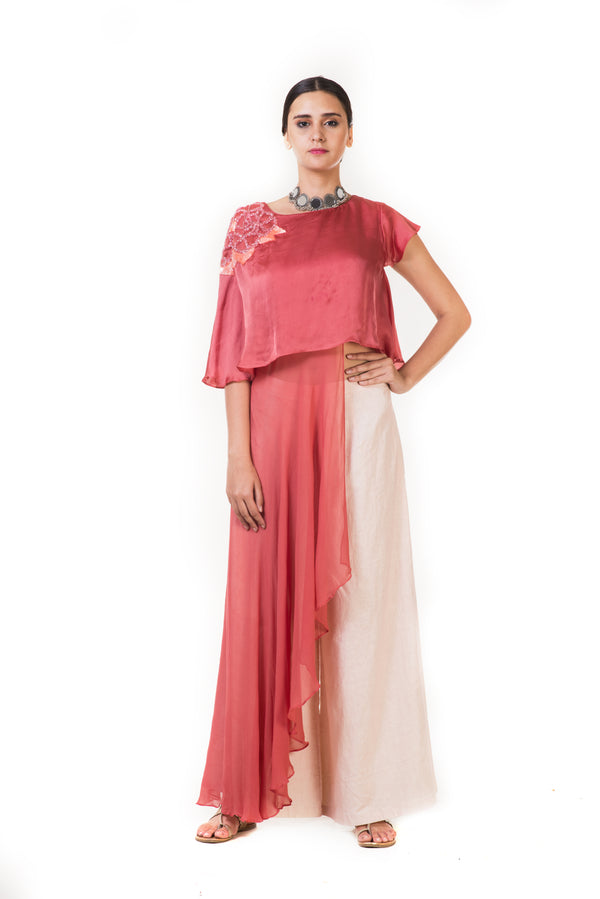 Rust Pink Embroidered Long Short Layered Indowestern Cape Top with Palazzo Pants