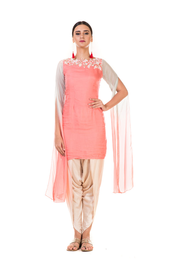 Hand Embroidered Pink & Aqua Long Sleeve Tunic with Dhoti Pants