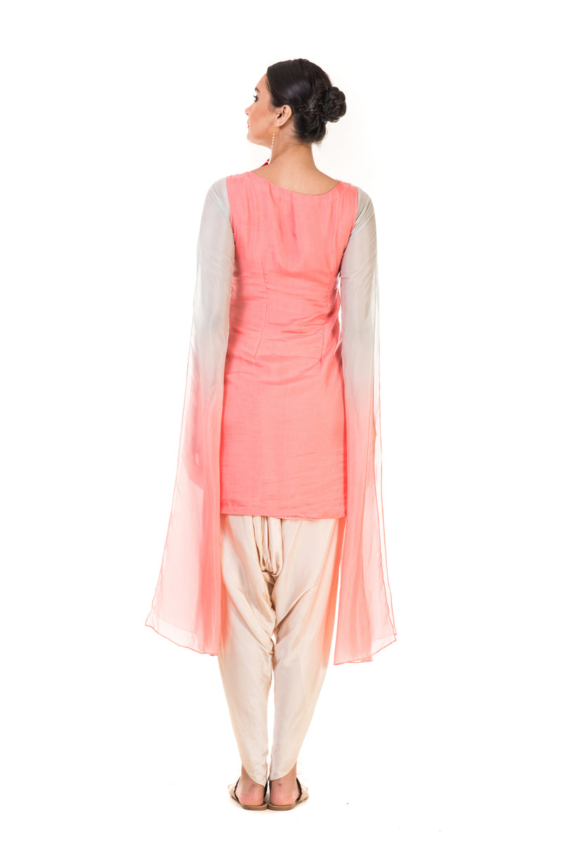Featuring a Hand Embroidered Pink & Aqua Shaded Long Sleeve  Embroidered Tunic with Dhoti Pants