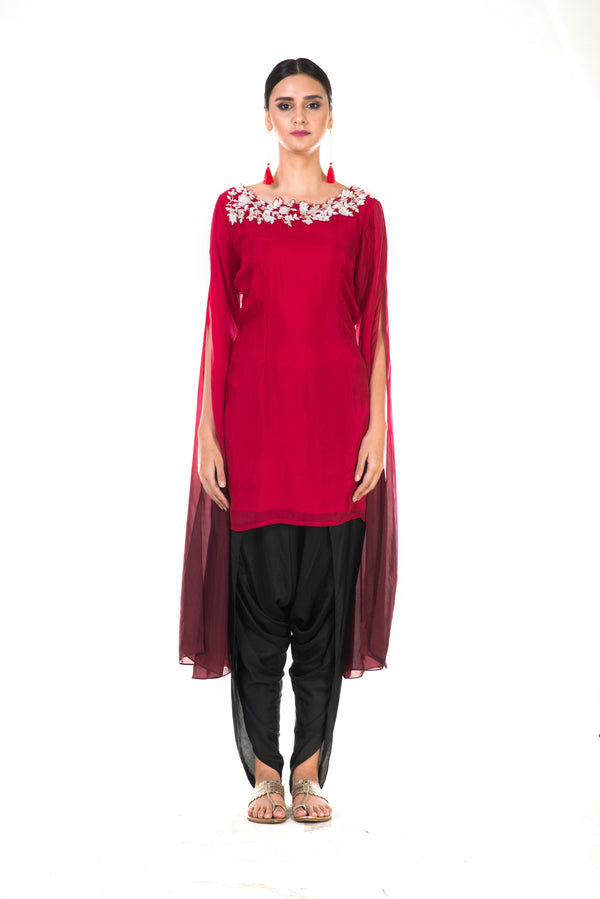 Hand Embroidered Red & Wine Shaded Long Sleeve  Embroidered Tunic with Dhoti Pants