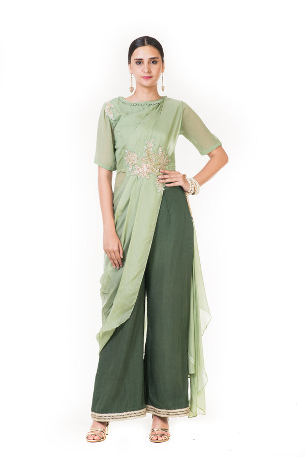 Green Cord Embroidered Indowestern Draped Top with Palazzo Pants