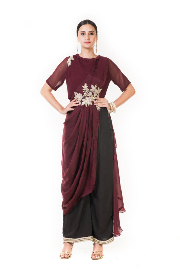Wine Cord Embroidered Indowestern Draped Top with Palazzo Pants