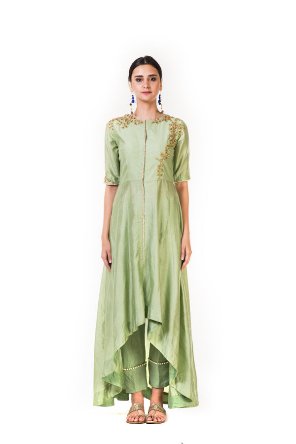 Green High Low Embroidered Salwar Suit & Straight Pants