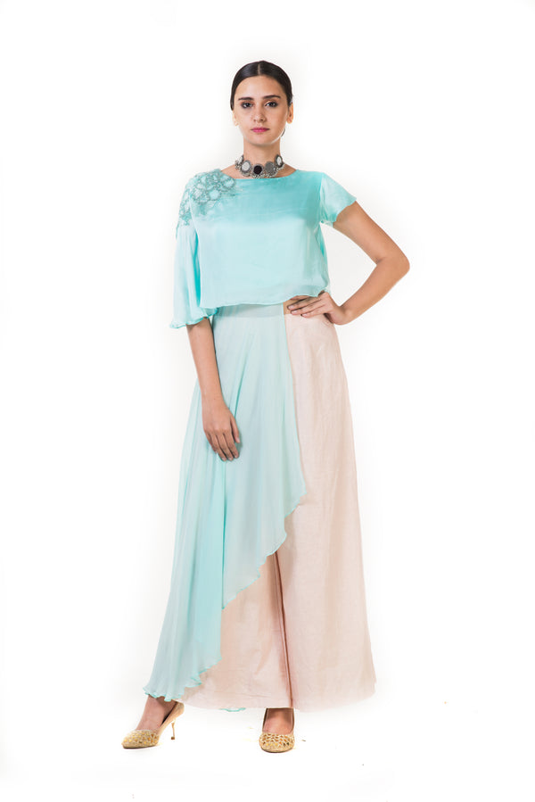 Light Blue Embroidered Long Short Layered Indowestern Cape Top with Palazzo Pants