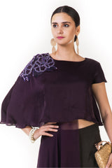 Plum Embroidered Asymmetrical Layered Indowestern Cape Top with Palazzo Pants