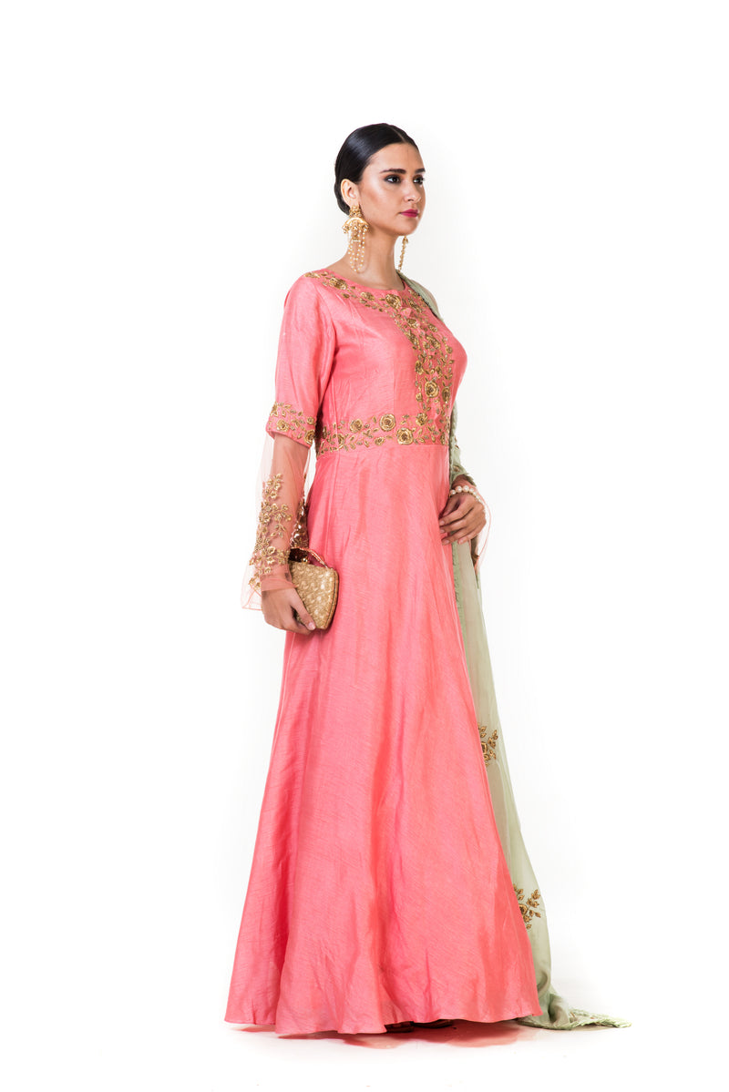 Pink Hand Embroidered Yoke Anarkali Suit  with Bell Sleeves and Dupata