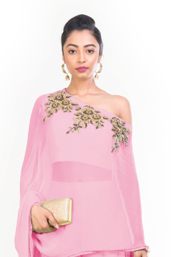 Pink Drop Shoulder Palazzo Set
