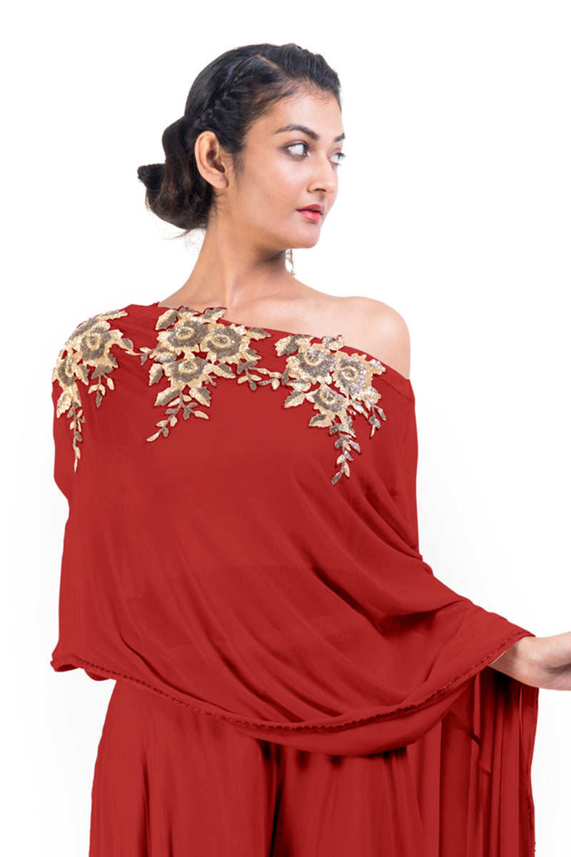 Red Drop Shoulder Palazzo Set