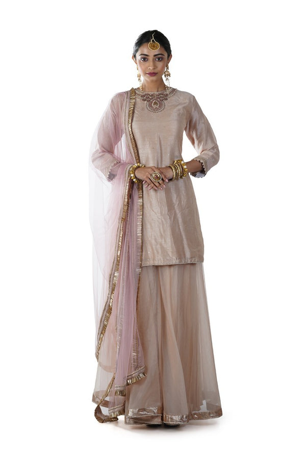 Hand Embroidered Beige Sharara Set