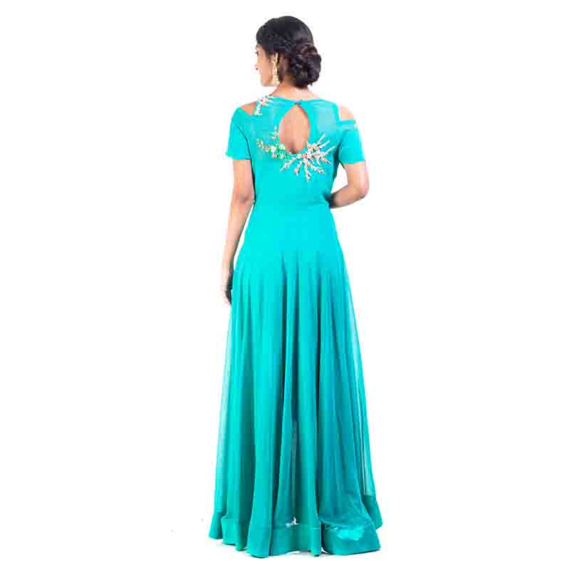 Teal Green High Low Dress